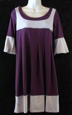 VOLL USA size M Medium Purple Gray Dress Pleated Colorblock Stretch Knit Boat