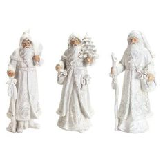 Melrose Winter Santa Figurines - Set of 3 - 64610