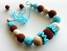 Nursing necklace Brown Turquoise Teething necklace by MioLBoutique, $20.00