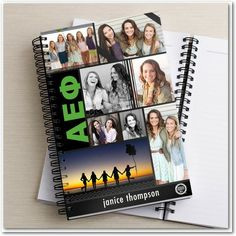 Greek Pride: Alpha Epsilon Phi - Greek Notebooks in a bright Green. #greeklife
