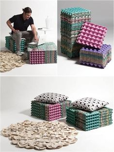 best out of waste diy craft projects, Diy Cardboard Furniture, Recycled Furniture, Diy Furniture, Carton Diy, Egg Carton Crafts, Diy Craft Projects, Diy Crafts, Diy Karton, Straw Crafts