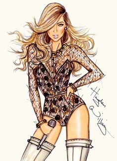 Beyonce Knowles by Hayden Williams Illustration Blume, Illustration Mode, Fashion Illustration Sketches, Fashion Design Sketches, Fashion Sketchbook, Hayden Williams, Jennifer Williams, Look Fashion, Fashion Art