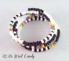Pop of Color Beaded Coil Bracelet by RandRsWristCandy on Etsy, $6.00 #etsy #flashsale only until midnight 7/23