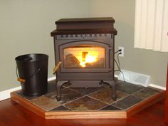 Pellet stove on corner hearth
