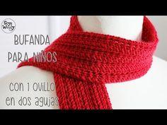 Bufanda para niños en punto Pluma (dos agujas) - Soy Woolly - YouTube