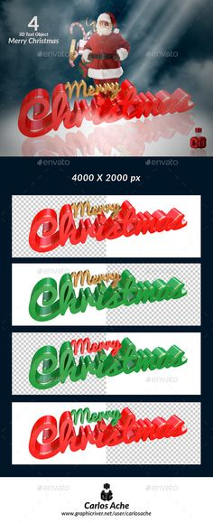 #Merry #Christmas - #Text 3D Renders