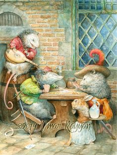 Playing Possums print by StudioRayyan on Etsy, $40.00