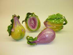 Katherine Houston Porcelain Set of Four: Pear, Eggplant, Melon and Squash. via Etsy.