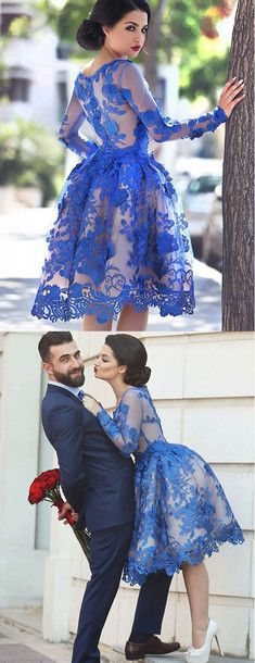 2016 homecoming dress, blue homecoming dress, knee length homecoming dress, lace homecoming dress, discount homecoming dress, cheap homecoming dress, #homecoming #blue #lace #cheap