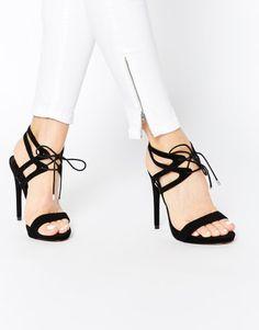 37c97eebd907 ASOS HONOR Lace Up Heeled Sandals at asos.com Black Laces