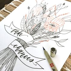 Step 1 - Sketch your bouquet with pencil. (Tip: Grab my book, Botanical Line Drawing for inspiration!) Step 2 - Trace your banner with a #PigmaMicron, preferably with a bolder tip like 05 or 08. Step 3 - Select a color of your choice (multiple colors if you'd like), trace the flowers that you want to enhance with a #GellyRoll pen. Step 4 - Finish tracing the illustration with a Micron pen that has a smaller tip than what you used on your banner. Step 5 - Add a short phrase to your banner…