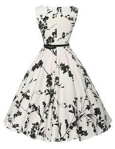 Audrey Hepburn Vestidos S-2XL Plus Size Women Floral Print Party Robe Rockabilly Vintage Dresses With Belt D57232