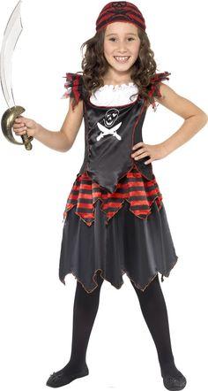 Schwarzes Piraten-Kostüm für Mädchen: Dieses Piraten-Kostüm für Mädchen besteht aus einem Oberteil, einem Rock und einem Kopftuch (dabei sind der Säbel und die Strumpfhose nicht enthalten).Das Kurzarm-Top ist schwarz und aus einem...