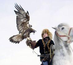 Makpal Abdrazakova, one of the rare women among Kazakhstan's eagle hunters. (via Reuters)