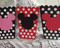 FREE SHIPPING - 10 Minnie Mickey Mouse Birthday - Baby Shower Treat Boxes ~ Goody Bags ~ Pop Corn Box by partytimeindayton on Etsy