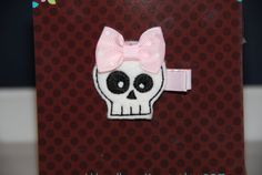 Felt Embroidered White Skull Hair Clip with by lilibirdbowtique, $4.00