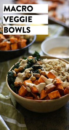An easy, go-to vegetarian dinner recipe for Macro Veggie Bowls. Made with sweet potato, quinoa, crunchy chickpeas and greens topped with a tahini dressing, this dinner recipe will quickly become a staple at your healthy dinner table. #veggiebowl #vegan #bowl #buddhabowl