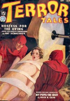 Some idiot regenerated LeeLoo inside a lumbermill!  Terror Tales magazine Sept/Oct 1937 pulp cover art horror girl woman dame hoods priest red robe tied bound captive hostage prisoner kidnap torture execute saw cut murder danger.