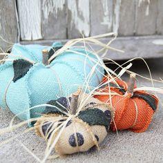 shabby chic burlap and fabric fall pumpkins...