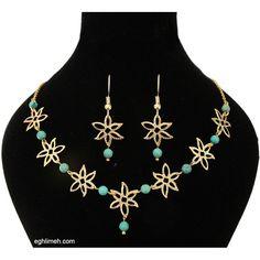 eghlimeh.com نیم ست یاس ساخته شده از فیروزه و گلهای روکش آب طلا