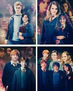 The golden trio: Harry, Ron and Hermione Harry James Potter, Harry Potter Jokes, Harry Potter Characters, Harry Potter Universal, Harry Potter Fandom, Harry Potter World, Hermione, Blaise Harry Potter, Must Be A Weasley