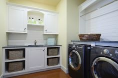 Like the right half - provides area to fold and hang just above the washer and dryer.