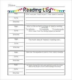 Printable Reading Log For Elementary Kids  Reading Logs Teaching