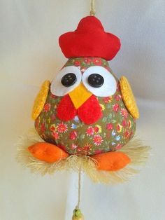 Patrones o Moldes de Buhos en Fieltro Felt Crafts, Easter Crafts, Fabric Crafts, Diy And Crafts, Crafts For Kids, Arts And Crafts, Chicken Crafts, Chickens And Roosters, Fabric Toys