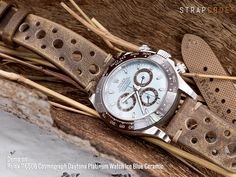 7c359ad3fea  MiLTAT 20mm Italian handmade Racer vintage chestnut brown watch strap on  Rolex 116506 Cosmograph Daytona