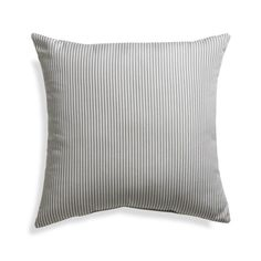"Sunbrella® Charcoal Ticking Stripe 20"" Sq. Outdoor Pillow 