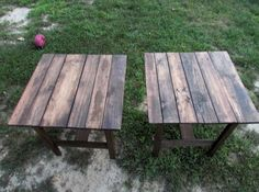 TWO Reclaimed Wood End Tables, Side Table, Bedside Table, Nightstand, Cottage Chic, Beach Table, Log Cabin, Rustic, Distressed, Farmhouse on Etsy, £81.28