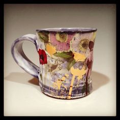 Mug with blue and white glaze and red poppies by rothshank on Etsy, $75.00