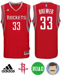 Wear this stylish Men s Adidas Houston Rockets  33 Corey Brewer Red New  Swingman Road Jersey 0eb281a8a9