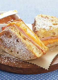 Low FODMAP Recipe and Gluten Free Recipe - French toast with ham and cheddar http://www.ibssano.com/low_fodmap_recipe_french_toast_cheddar.html