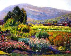 """The Flower Garden - Laguna"", Oil On Canvas by Joseph Kleitsch (1885-1931, Hungary)"