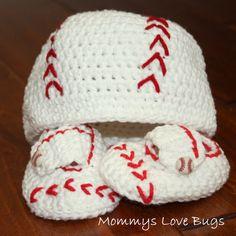 baby boy baseball hat and booties