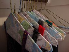 map covered wire hangers