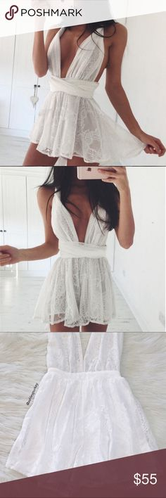 white lace plunge open cross back romper •size: S M L •features: open back, shoulder straps are long and cross in the back •no trades ❗️❗️ NOT from LF (brand listed for visibility. real brand: B-Long Boutique) ⚠️ if this item does not fit you CANNOT return it - poshmark policy LF Other