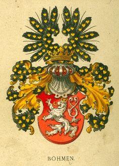 Königreich Böhmen (Tafel III).  -- «Österreichisch-ungarische Wappenrolle», von Hugo Gerhard Ströhl, Wien, 1890. -- Böhmen, dessen Herzöge seit 1086, dauernd seit 1196 den königlichen Titel führten, kam am 24. October 1526 an das Erzhaus Oesterreich. Seit 1194 führte Böhmen im silbernen Felde einen schwarzen Adler mit goldenen Waffen (Schnabel und Fänge). Premysl Otakar II. führte 1249 zum erstenmale den silbernen, doppelschwänzigen Löwen im rothen Felde.