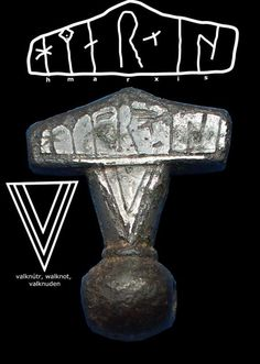 """Kobelev Mjolnir. The only hammer amulet to be found with an inscription. The runes translate as """"I am a hammer""""."""