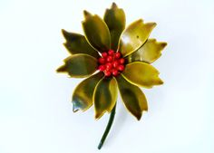 Unusual 60's abstract holly leaves and berries enamel on metal statement brooch, handsome Autumn green & red color 3D stylized woodland pin by BetseysBeauties on Etsy