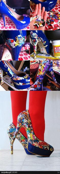 """Just did this for a """"pop art"""" auction and used red heels instead of blue.  Great, fun shoes!!! LOVED how easy this was; and they really are fool proof..."""