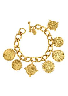 This gold plated charm bracelet by Julie Vos is chic and timeless. It looks fantastic on women young and old.