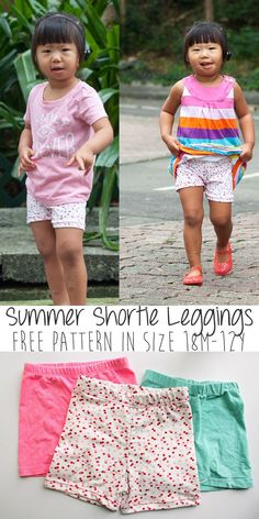 Sewing Gifts For Kids shortie-leggings-free-pattern-perfect for summer size from Nap-Time Creations - Sewing Patterns For Kids, Sewing Projects For Beginners, Sewing For Kids, Baby Sewing, Free Sewing, Clothes Patterns, Free Knitting, Dress Patterns, Sewing Ideas