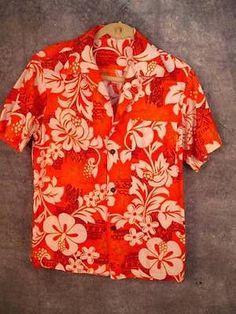 Vtg-Barkcloth-Aloha-Shirt-L-Lrg-M-Med-G-V-H-Hawaiian-Print-Tiki-Surfer-Orange