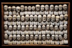 Set of sixty miniature heads used in phrenology Manchester, 1831
