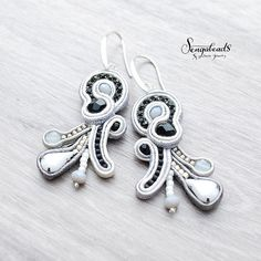 Soutache earrings in gray, white and black. Perfect for special event and everyday use as well. Soutache jewelry. Handmade gift.Gift for her