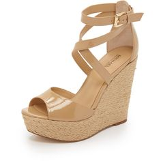 Gabriella wedge sandals by MICHAEL Michael Kors. Braided jute trim wraps around the wedge heel and platform on these patent leather MICHAEL Michae. Nude Wedges, Ankle Wrap Sandals, Ankle Strap Wedges, Strap Sandals, Platform Wedges Shoes, Shoes Heels Wedges, Womens Shoes Wedges, Wedge Shoes, Clothes
