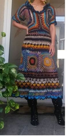 One of a kind crocheted long dress by BlacksmithAnvil on Etsy