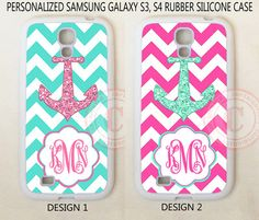 PERSONALIZED MONOGRAM MINT PINK CHEVRON ANCHOR CASE FOR SAMSUNG Galaxy S3 S4